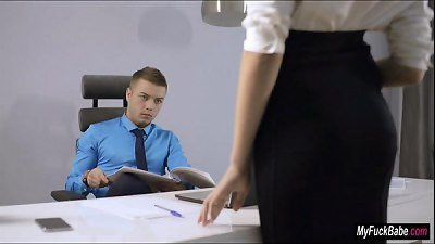 Sexy secretary Sheri Vi seduces her boss and fucks him