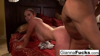 chesty Gianna Michaels gets fucked by humungous ebony cock!